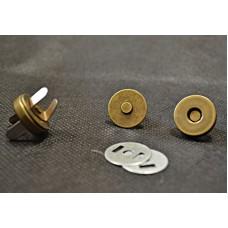 Conf.5 pz.Chiusure magnetiche mm 18 Ottone Antico
