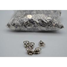 Cursori nichel  con anello per lampo a spirale  nylon mm 6 -  Conf. 250 pezzi